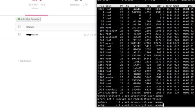 Error: Let's Encrypt acc registration failed